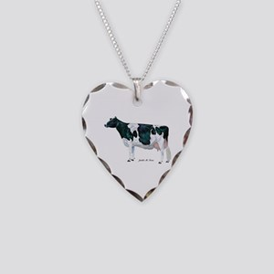 Holstein Cow Necklace Heart Charm